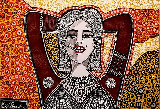 ציור אישה אמנות מודרנית מירית בן נון ציירת ישראלית עכשווית