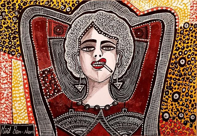 ציור אישה אמנית מודרנית מירית בן נון ציירת ישראלית עכשווית