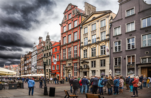 Architecture and facade of the Royal Route on a gloomy day, Gdansk, Poland.  636-Edita
