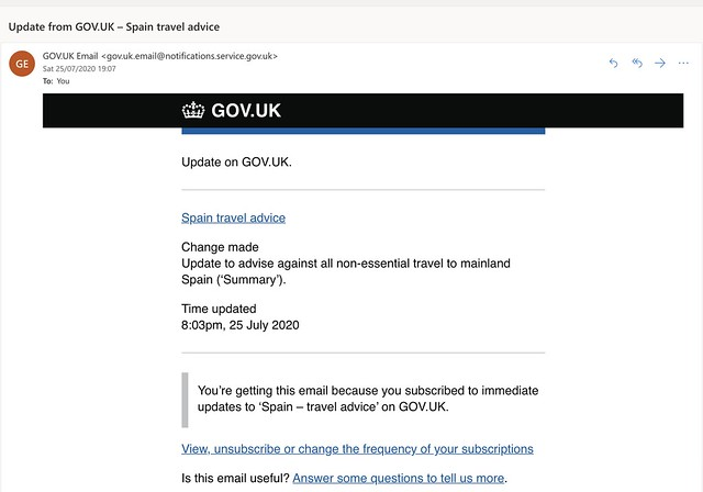 Picos postponed: GOV.UK email