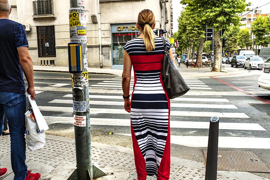 Woman in striped dress on 8-4-20--Belgrade