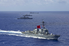 USS Rafael Peralta (DDG 115) conducts formation steaming with ships from the Royal Australian Navy, Republic of Singapore Navy and Royal Brunei Navy, Aug. 2. (U.S. Navy/MC2 Jason Isaacs)