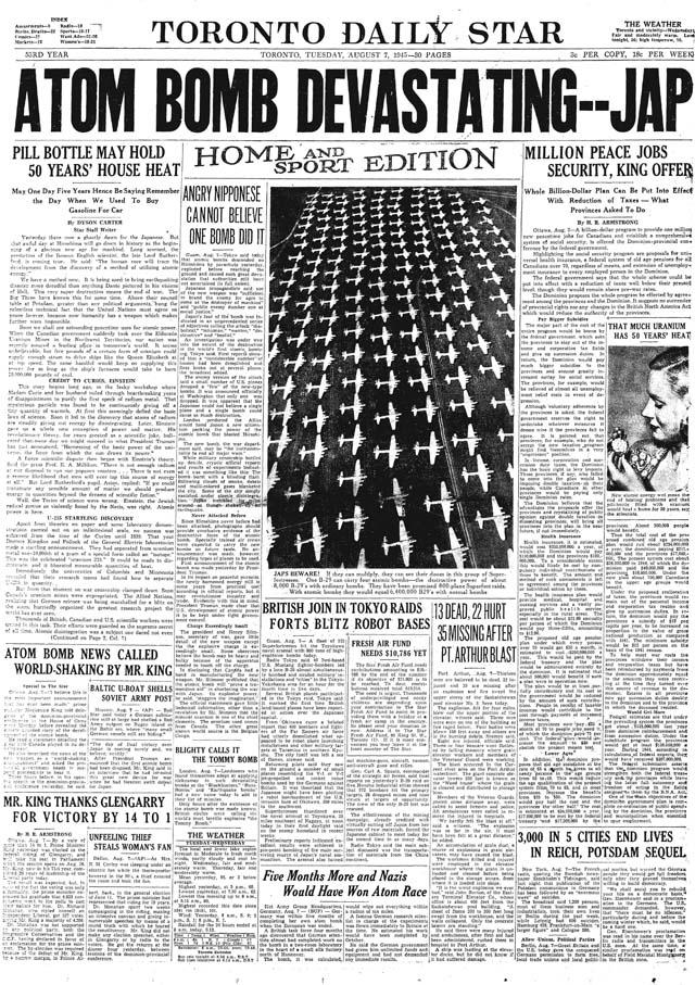 star 1945-08-07 front page atom bomb hiroshima