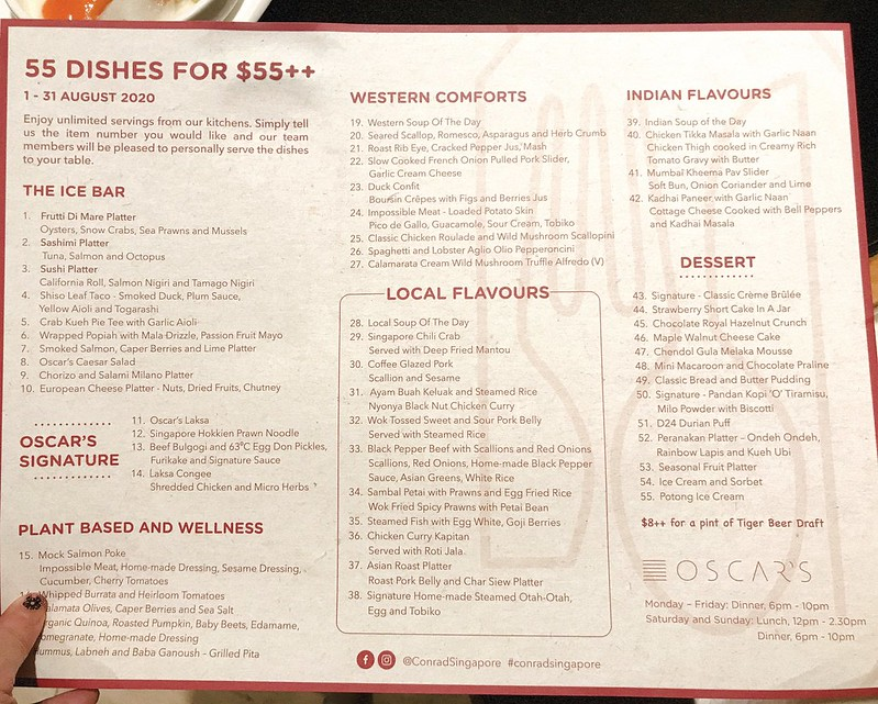 Menu: 55 Dishes Buffet at Conrad Centennial Singapore