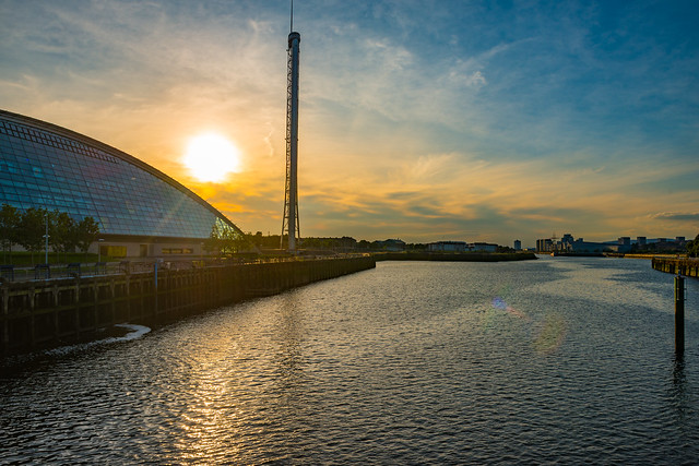 The glasgow tower, science museum and IMAX cinema beside the clyde river Glasgow Scotland