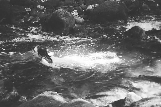 Sarah swims in Forney Creek.