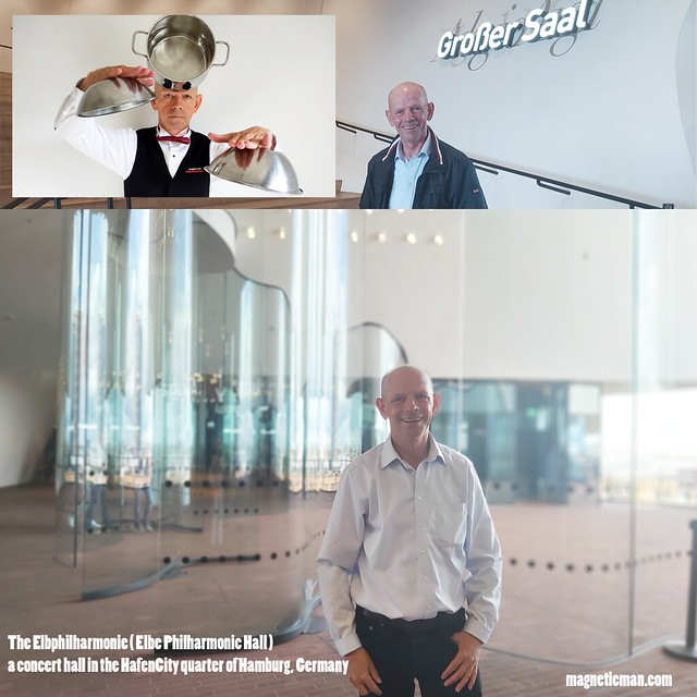 Stan Lee's Super human Super brain Miroslaw Magola in The Elbphilharmonie (Elbe Philharmonic Hall) a concert hall in the HafenCity quarter of Hamburg Germany