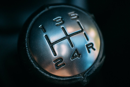 Car gear stick. Manual transmission