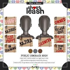 .:Short Leash:. Public Disgrace Sign