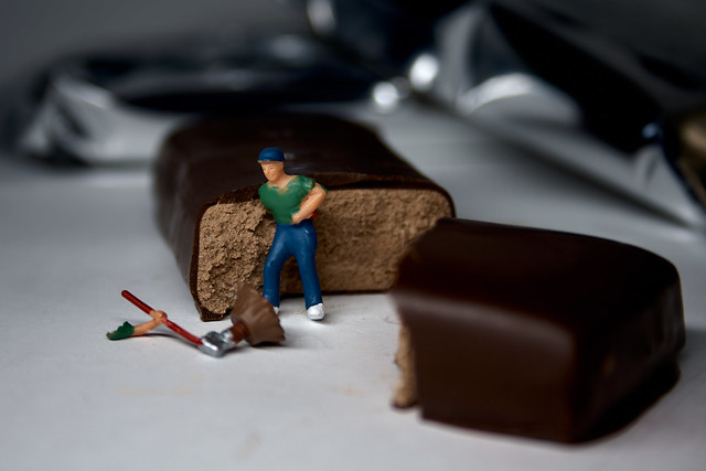 Industrial accident while cutting an energy bar.