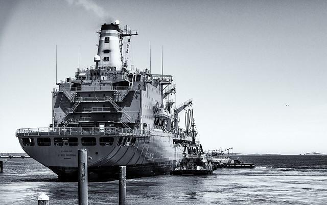 Ship Leaving Repair Yard mono