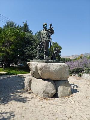 Parley Pratt statue with a mask, 2300 East 2100 South, Salt Lake City