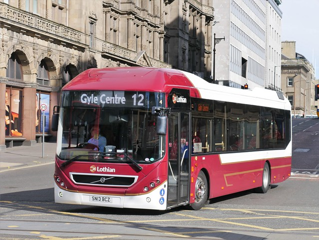 Lothian Volvo BRLH 7905LH SN13BCZ 4 making its way to Princes Street to operate service 12 to Gyle Centre at South St David Street on 3 August 2020.