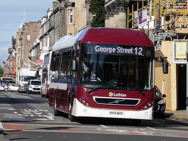 Lothian Volvo BRLH 7905LH HY13BUS 2 operating service 12 to George Street at George Street prior to returning to South Gyle from Princes Street on 3 August 2020.