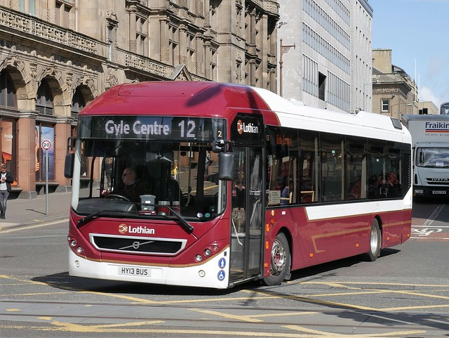 Lothian Volvo BRLH 7905LH HY13BUS 2 making its way to Princes Street to operate service 12 to Gyle Centre at South St David Street on 3 August 2020.