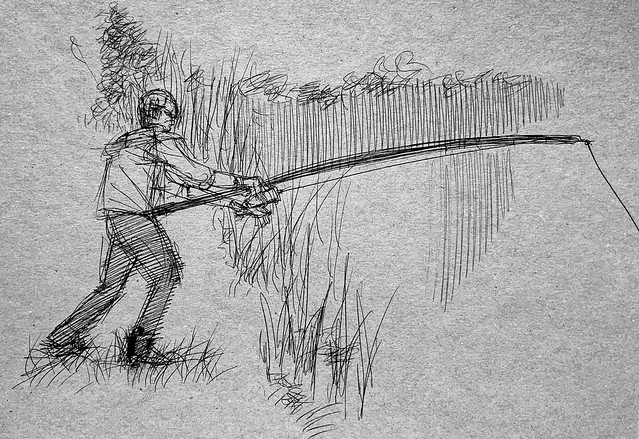 Quick ballpoint pen pin sketch of my son fishing. Drawn on recycled card, just for Fun.