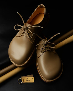 Italian leather shoes the colour called Antelope, fully lined in soft cream Orthopaedic leather. Signed and dated AL. 3.6.20.- Full Moon in Aquarius.