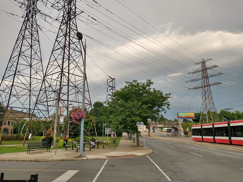 Looking east, St. Clair at Prescott #toronto #stclairgardens #stclairave #stclairwest #512stclair #streetcar #grey #storm #clouds #evening