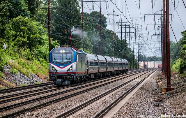 Amtrak 653 on 95, Ridley Park, 2020-08-04