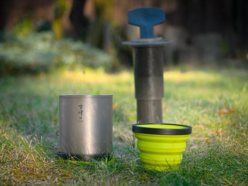 Sea Summit X-cup & Snow Peak titanium mug & AeroPress