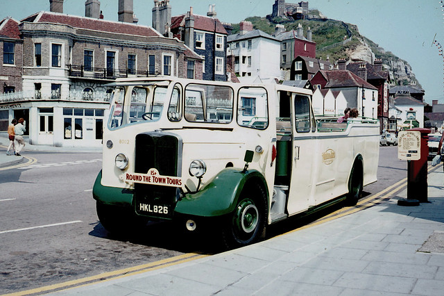 Maidstone & District Motor Services . 8002 HKL826 . Hastings , East Sussex . Saturday afternoon . 24th-July-1971 .