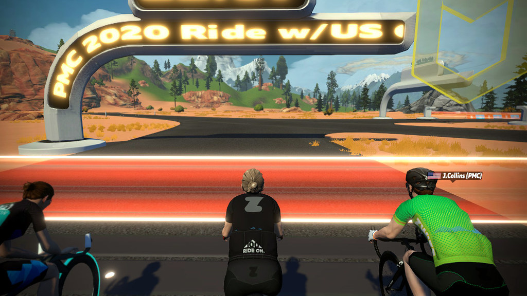 PMC Day 1 start: Now there's a ride banner I can get behind!