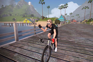 Waving to imaginary crowds as I arrived at a virtual Provincetown to complete my two-day PMC Zwift ride