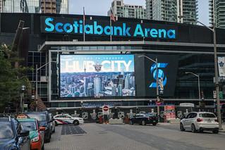 Coronavirus pandemic in Toronto - National Hockey League hub, ScotiaBank Arena, Columbus and Toronto playing inside, August 4