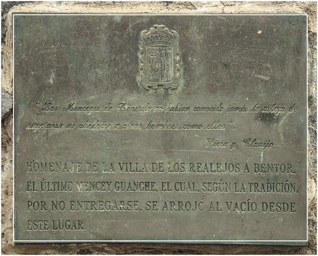 512- MIRADOR DE EL LANCE - PLACA EN EL MONUMENTO AL ÚLTIMO MENCEY - TENERIFE -
