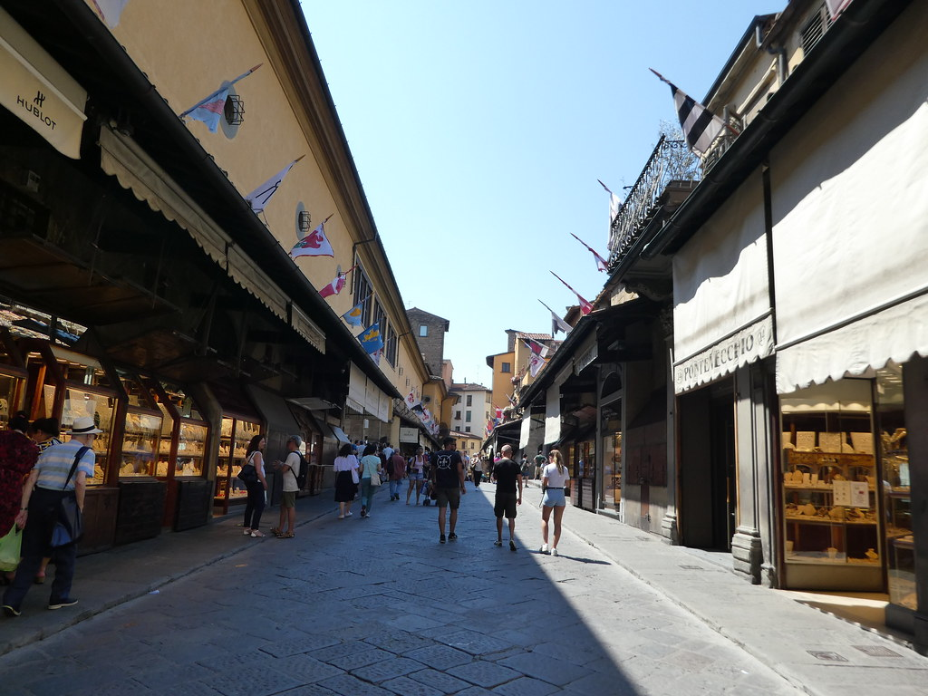 Walking along Ponte Vecchio, Florence
