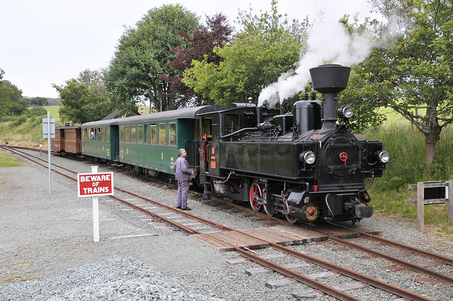 U-Class steam locomotive ZB 2 'Zillertal' is coupled up to its train at Castle Caereinion during a post lockdown driver/fireman familiarisation turn on the Welshpool & Llanfair Light Railway.