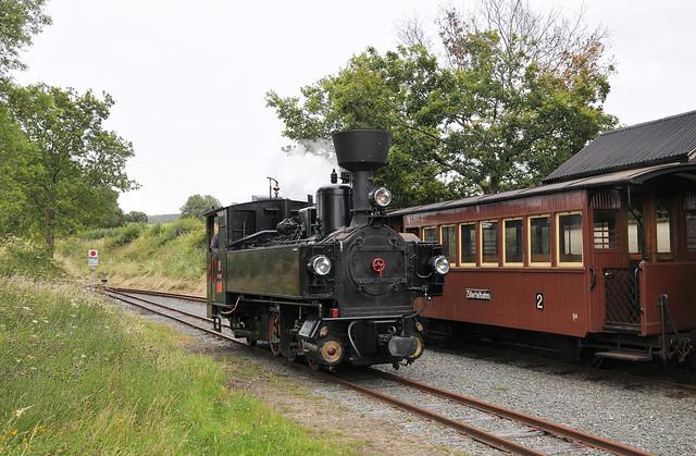 Removing the rust, U-Class steam locomotive ZB 2 'Zillertal', runs around its train at Castle Caereinion during a post lockdown driver/fireman familiarisation turn on the Welshpool & Llanfair Light Railway.