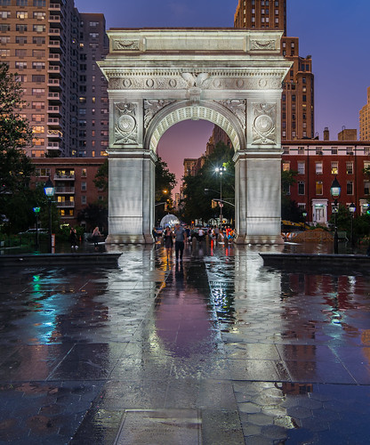 Washington Square Park on a rainy night