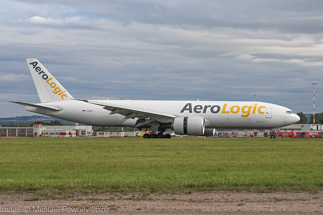 D-AALN - 2019 build Boeing B777-F, arriving on Runway 27 at East Midlands