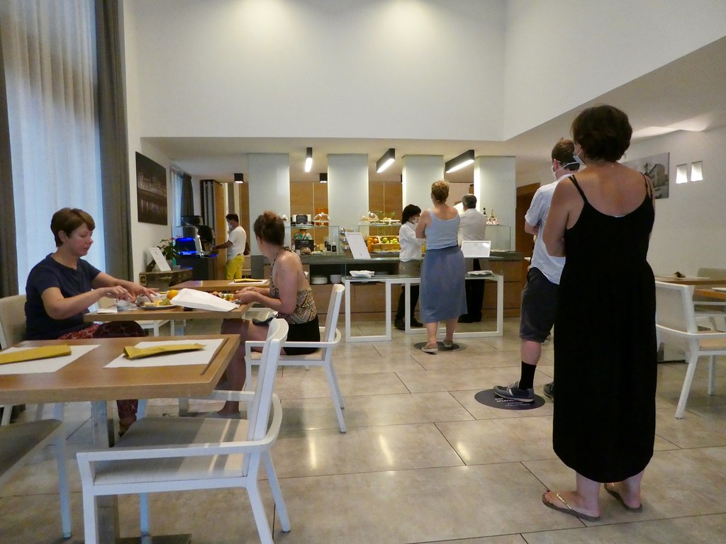 Socially distanced Breakfast buffet at NH Hotels Pisa
