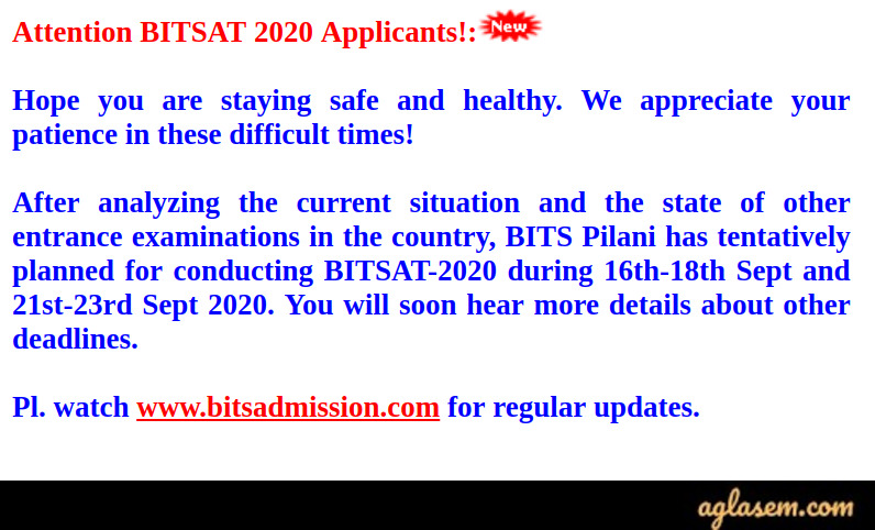 BITSAT 2020 New Exam Dates