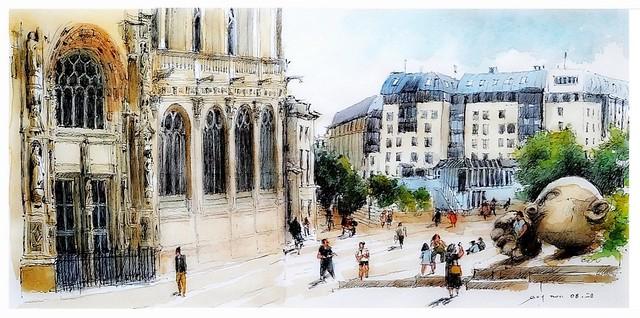 Paris - France - St Eustache - monument l'écoute