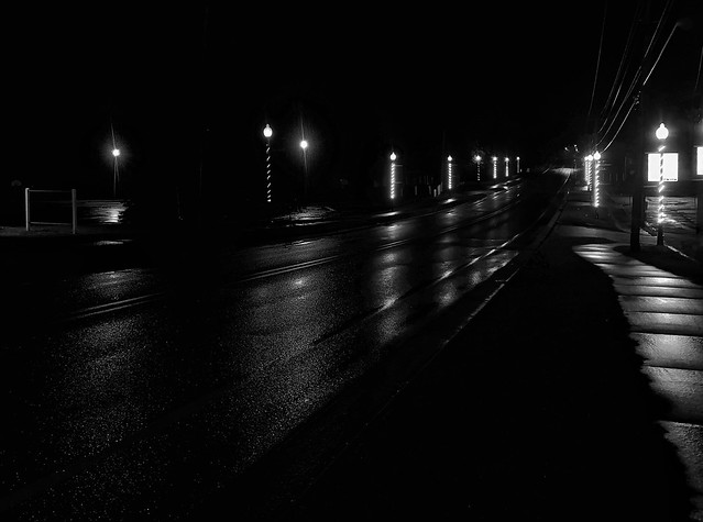 Quiet street on a rainy night