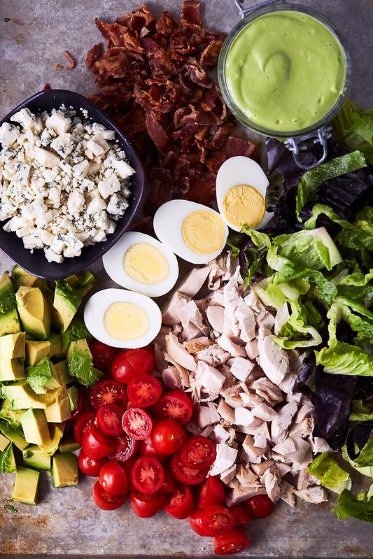 California Cobb Mason Jars Salad with Green Goddess Dressing {gluten-free, keto}
