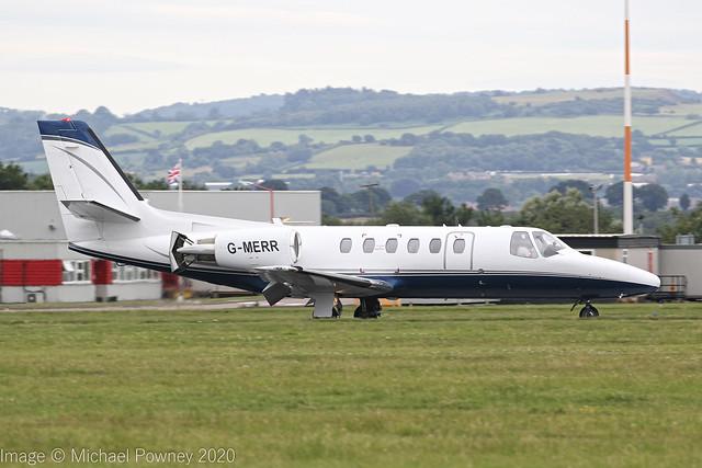 G-MERR - 1999 build Cessna 550B Citation Bravo, arriving on Runway 27 at East Midlands