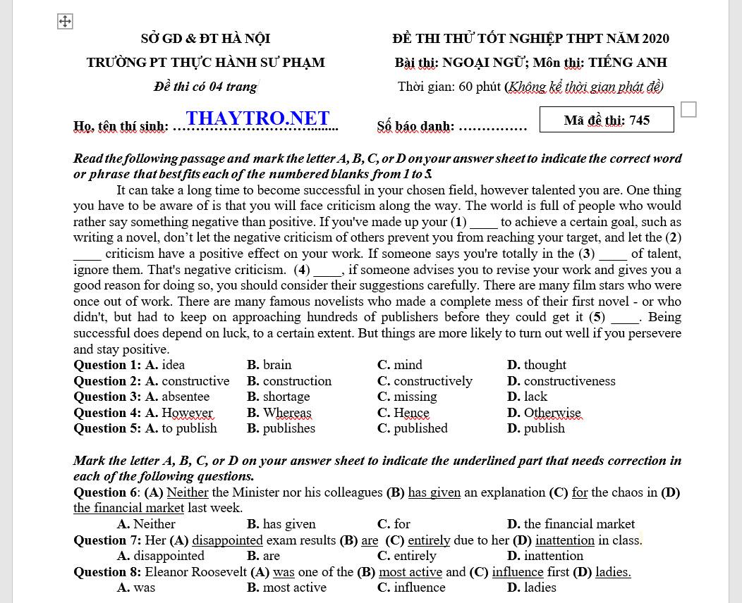 De thi thu THPT 2020 truong thuc hanh su pham