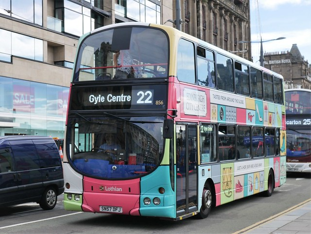 Lothian Volvo B9TL Wright Eclipse Gemini SN57DFJ 856 operating service 22 to Gyle Centre at Princes Street on 3 August 2020.
