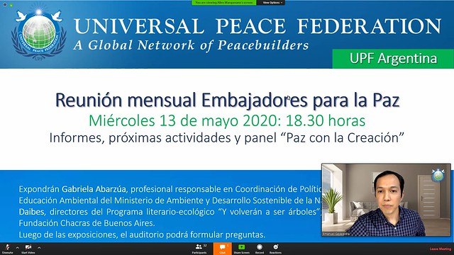 "Argentina-2020-05-13-UPF-Argentina's Monthly Zoom Meeting Has the Topic ""Peace With Creation"""
