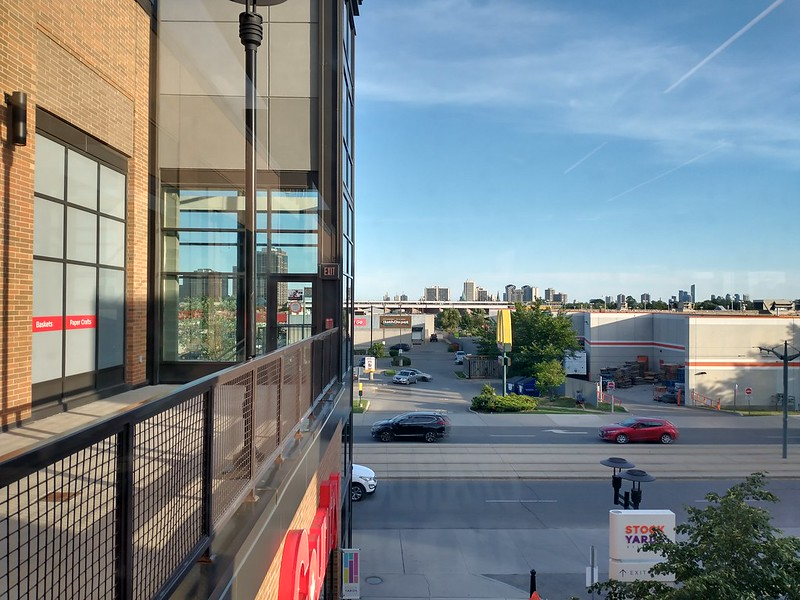 Looking south across St. Clair towards the Junction #toronto #stockyards #skyline #evening #stclairave #thejunction #highparknorth