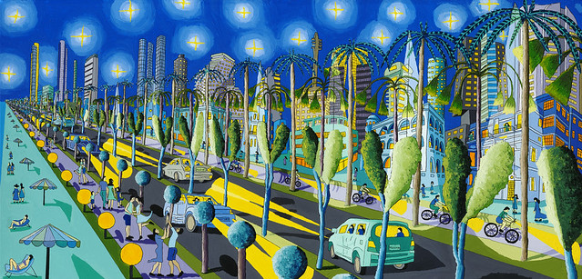 Raphael Perez naive Kunst Maler Volkskunst Künstler Urban Landacape Gemälde große Malerei Colofrul Künstler Stadt Maler naiv artist painter painting paintings