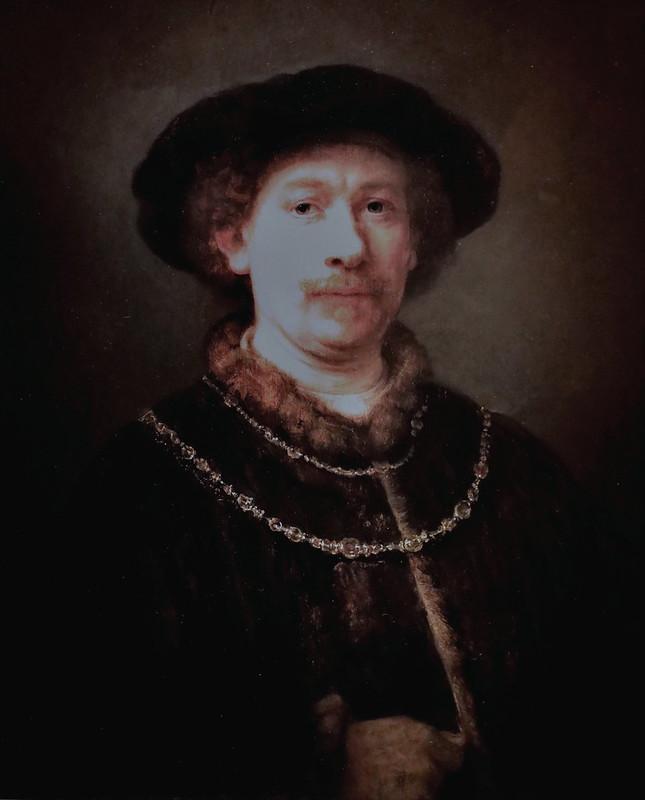 IMG_3501D Rembrandt Harmenszoon van Rijn 1606-1669 Amsterdam Self-portrait wearing a hat and two chains Autoportrait coiffé d'un chapeau et  deux chaînes  1643 Madrid Musée Thyssen Bornemisza