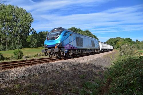 eastsuffolkline woodbridge greateranglia trains railway suffolk rurallandscape class68 diesel locomotive loco train tpe transpennineexpress trees blue sky
