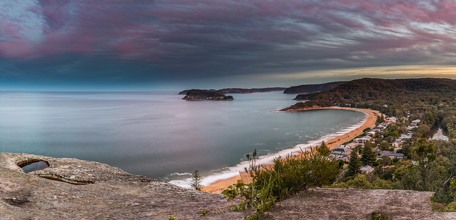 Sunset Seascape Panorama over Pearl Beach and Broken Bay