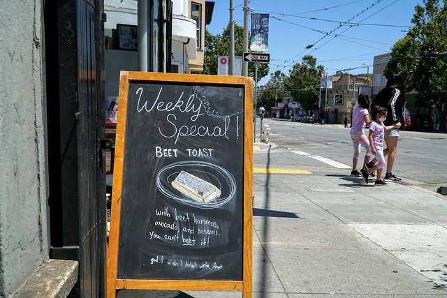Beet toast, Mission Street, San Francisco