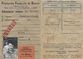 Licence de la Fédération Française de Boules d'André Jeannin en 1964
